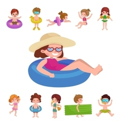 Girl and boy in swimsuit isolated kids summer vector