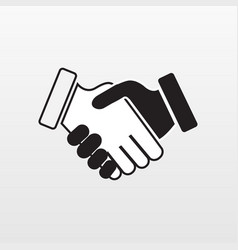 Gray hand shake icon on background modern simple vector