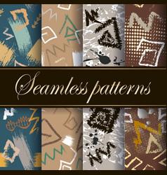 Greek seamless patterns set ornamental tribal vector