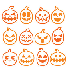 Halloween pumpkins icon set vector