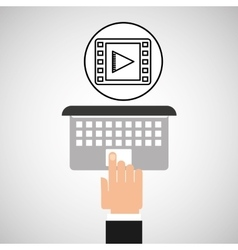 hand touch laptop web movie vector image