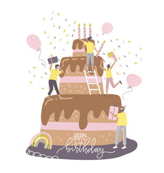 Happy birthday party concept with cheerful people vector
