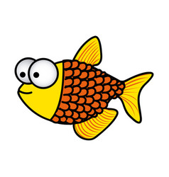 Happy fish scalescartoon icon vector