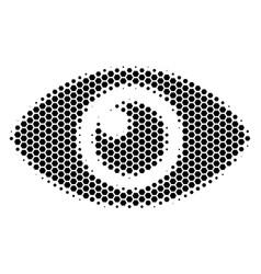 hexagon halftone eye icon vector image