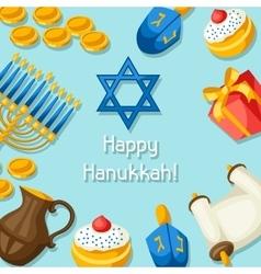 Jewish Hanukkah celebration card with holiday vector image