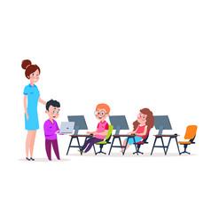 kids in computer lab school children coding vector image