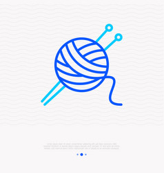 Knitting thin line icon tangle and spokes vector
