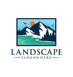 landscape logo design template vector image