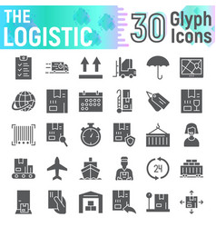 logistic glyph icon set delivery symbols vector image