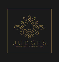Luxurious letter j logo with classic line art vector