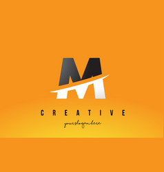 m letter modern logo design with yellow vector image