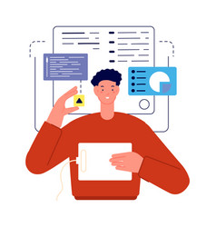 man working with charts analytics or developer vector image