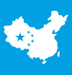 Map of china icon white vector
