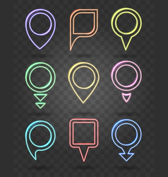 Map pin neon signs illuminated frames for vector