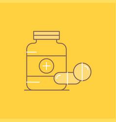 medicine pill capsule drugs tablet flat line vector image