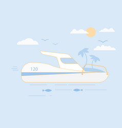 modern boat in flat style on sea vector image