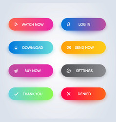 modern material style gradient colors web buttons vector image