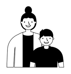 mother and son on white background vector image