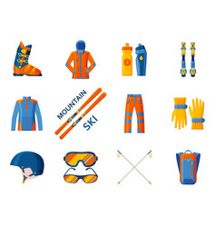 mountain skies icon collection set with equipment vector image