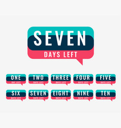 Number of days left counter for sale and promotion vector
