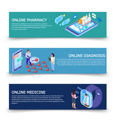 online medicine services banners template vector image