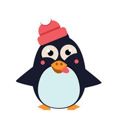 penguin wearing hat grimacing on ice vector image