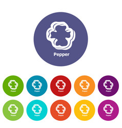 pepper icons set color vector image