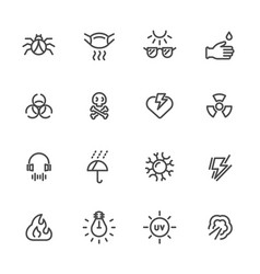 pollution and protective equipment line icons vector image