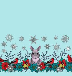 Rabbit and birds winter seamless border vector