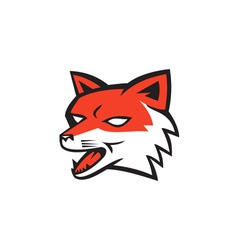 Red Fox Head Growling Retro vector