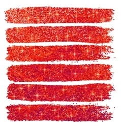 Red glitter brushstrokes set isolated at white vector