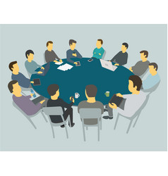 Round big table talks team business people vector