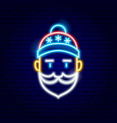 santa claus neon sign vector image