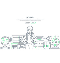 School - modern line design style web banner vector