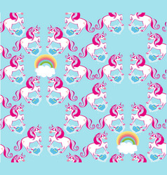 seamless pattern with cute unicorns and rainbow vector image