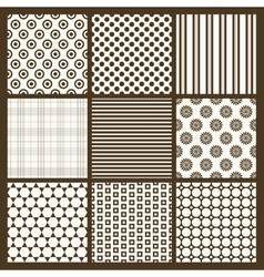 Set 9 simple seamless monochrome patterns part vector