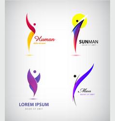 set creative human man logos leader vector image