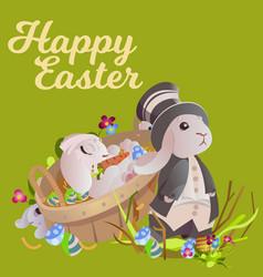 set of easter chocolate egg hunt bunny basket vector image