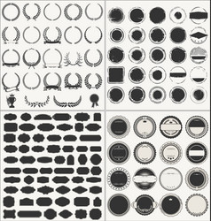 Set of empty retro vintage frames laurels badges vector
