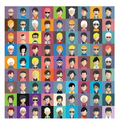 Set of people icons in flat style with faces 12 b vector image