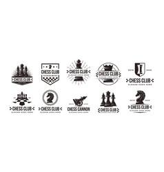 set vintage badge emblem chess logo icon vector image