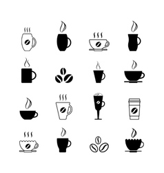 Simple coffee icon set isolated on white vector image