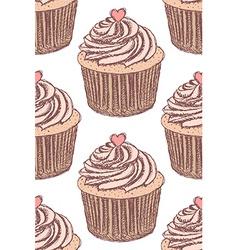 Sketch tasty cupcke in vintage style vector image