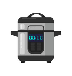 Slow cooking crock pot isolated on white vector