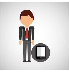 Smartphone business man suit worker icon vector
