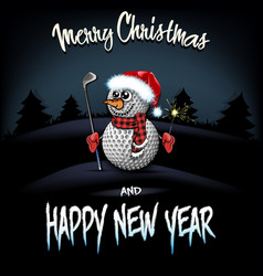 Snowman from golf balls with putter and sparklers vector