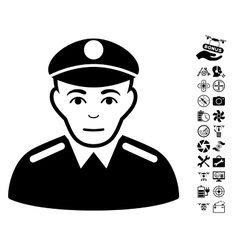 Soldier Icon With Air Drone Tools Bonus vector