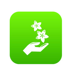 spa hand care icon green vector image