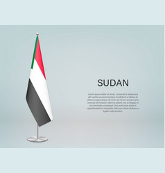 Sudan hanging flag on stand template vector