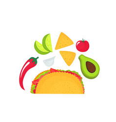 taco - a food national mexican cuisine tomato vector image
